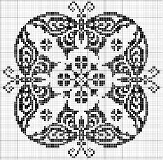 Round 09 | Free chart for cross-stitch, filet crochet | gancedo.eu
