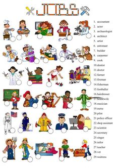 Jobs Language: English Grade/level: Grade 5 School subject: English as a Second Language (ESL) Main content: Jobs and occupations Other contents: English Grammar Worksheets, Vocabulary Worksheets, Kindergarten Worksheets, Worksheets For Kids, English Vocabulary, English Lessons, Learn English, Ingles Kids, Job Pictures