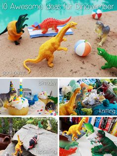 """Dinovemeber is the dinosaur version of Elf on the self!! The term """"Dinovember"""" has only been around since 2012, and the idea of toys having a secret life of their own while we sleep or are out of the house, is one of my favorite themes. During Dinovember, parents are encouraged to convince their kids that their toy dinosaurs come to life while they sleep! http://www.ehow.com/info_12340226_10-awesome-ideas-dinovember.html?utm_source=pinterest&utm_medium=fanpage&utm_content=inline"""