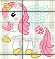 Crochet Pixel, Crochet Pony, Hand Work Embroidery, Hand Embroidery Patterns, Cross Stitching, Cross Stitch Embroidery, Cross Stitch Designs, Cross Stitch Patterns, Unicorn Cross Stitch Pattern