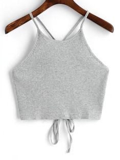 SHARE & Get it FREE | Cropped Lace Up Tank Top - Gray SFor Fashion Lovers only:80,000+ Items • New Arrivals Daily Join Zaful: Get YOUR $50 NOW!