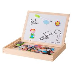 ELIITI Wooden Magnetic Board Double Sided Chalkboard and Dry   Etsy Educational Board Games, Educational Toys For Toddlers, Puzzles For Toddlers, Toddler Toys, Kids Toys, Magnetic Book, Stacking Toys, Wooden Jigsaw Puzzles, Old Farm