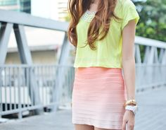 New Look yellow cropped shirt | Ted Baker skirt