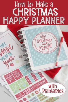 Get organized with a DIY Christmas Planner that fits Happy Planner! Includes printables, planner stickers, and more. Diy Christmas Planner, Holiday Planner, Christmas Planning, Christmas Printables, Printable Planner Pages, Planner Stickers, Happy Planner Cover, Planner Covers, Christmas Makes