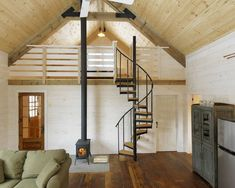 Winter Cabin - Rustic family room with exposed wood - Spiral staircase to loft - Could see this as the inspiration for a small house Mezzanine Loft, Loft Stairs, Attic Loft, Ladder To Loft, Stairs To Attic, Loft Railing, Loft Ladders, Upstairs Loft, Loft Design