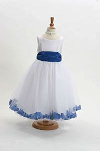 Flower Girl Dress Style 152-Choice of White or Ivory Dress with Royal Blue Sash and Petals