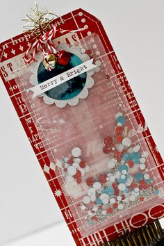 Fun and festive Christmas tag! www.vintagestreetmarket.com Create one for New Years with the confetti inside :)