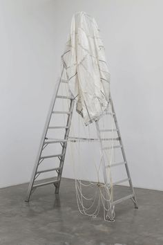 Tom Burr - 12 Steps to Hell, 2009 Tom Burr 12 Steps to Hell, 2009 Metal ladder and white parachute