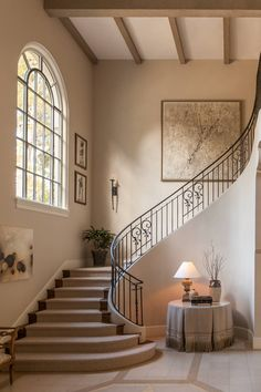 Top unique modern staircase design ideas for your dream house 9 Home Stairs Design, Railing Design, Dream Home Design, Stair Design, Dream House Interior, Interior Stairs, Home Interior Design, Foyer Staircase, Curved Staircase