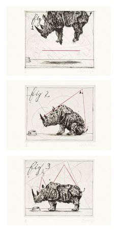 Three Rhinos by William Kentridge (Archived Editions)