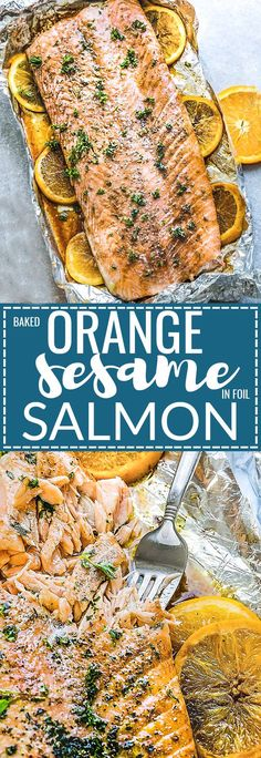 Baked Orange Sesame Salmon In Foil - Is The Perfect Easy And Healthy Weeknight Recipe. The best part is that The Salmon Is Cooked To Tender, Flaky Perfection In Just 30 Minutes With A Flavorful Orange Sesame Glaze. Best Seafood Recipes, Salmon Recipes, Fish Recipes, Real Food Recipes, Cooking Recipes, Healthy Recipes, Sausage Recipes, Delicious Dinner Recipes, Seafood Dishes