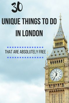 30 Unique Things to do in London For Free 30 einzigartige Aktivitäten in London, die absolut kostenlos sind Europe Travel (Visited 2 times, 1 visits today) Sightseeing London, London Travel, London England Travel, European Vacation, European Travel, Travel Europe, Travel 2017, Travel Uk, London Eye