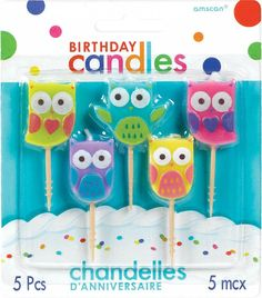 Owls Birthday Candle Picks | 5 ct