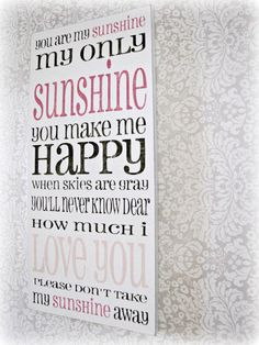 You Are My Sunshine Shabby Chic Typography Sign-White, Charcoal Gray and Pink on Etsy, $92.00