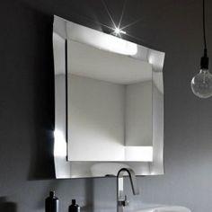 specchio e specchiera bagno play in vetro curvato e argentato con faretto arbi arredobagno