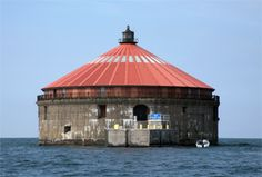 Buffalo Intake Crib Lighthouse, off the shore of Buffalo New York . The light was lit in Sept of 1856 which you could see 10 miles out on the lake