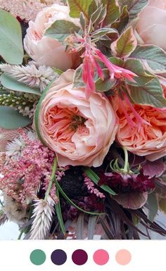 Yummy floral color combo : Spearmint green : Midnight blue : Plum : Deep pink : Coral blush