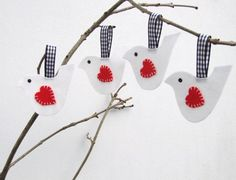 White lovebirds decoration by BabanCat on Etsy, £9.00