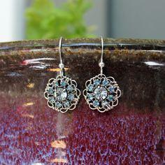 Blue Filigree Earrings - Crystal Filigree Earrings