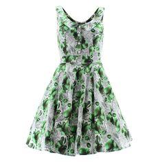 H&R London Dress PEAR FLORAL 5076 white-green UK8 XS