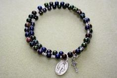 How to Make a Coil Memory Wire Wrap Rosary Bracelet thumbnail