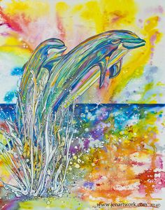 Dolphin Jump by Jen Callahan Easy Canvas Painting, Painting Prints, Canvas Prints, 5th Grade Art, Watercolor Fish, Tile Art, Color Of Life, Art Festival, Dolphins