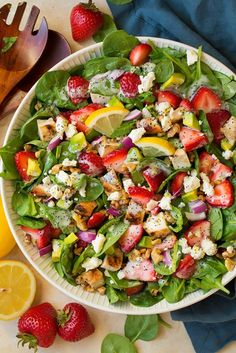Strawberry+Avocado+Spinach+Salad+with+Grilled+Chicken+and+Lemon+Poppy+Seed+Dressing