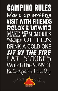 CAMPING RULES Sign STENCIL 3 Sizes available por SuperiorStencils