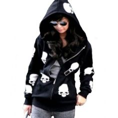 Skull hoodie sweatshirts for women - Out Trend Clothes Skull Fashion, Punk Fashion, Fashion Women, Girl Fashion, Fashion Boots, Fashion Online, Fashion Trends, Hoodie Sweatshirts, Zip Hoodie