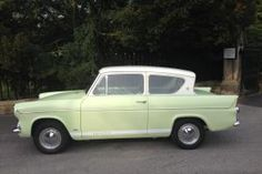 Classic Cars British, Ford Classic Cars, Ford Anglia, 1960s Cars, Ford Parts, Morris Minor, Green Bodies, Car Ford, Sit Up