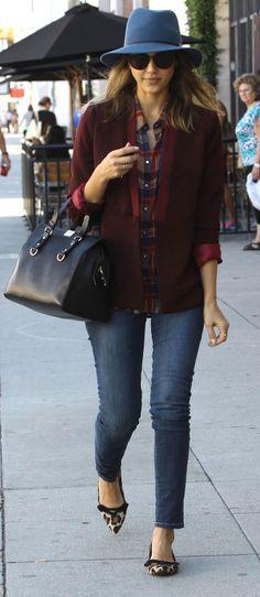 Jessica Alba in a pretty perfect Winter hat (and leopard flats!)