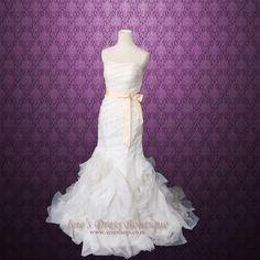 Inspired Organza Ruffle Mermaid Wedding Dress by ieie on Etsy