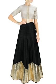 Something different - PAYAL SINGHAL Stone embroidered choli with black triangular border lehenga