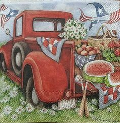 New Product! #papernapkinswithredtruck #decoupagenapkins #vintageredtruck #picnic #watermelon #usaflag #celebrations #4thofjuly #oldredtruck