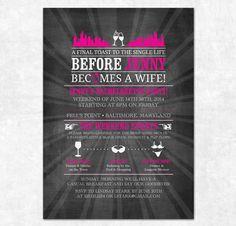 Chalkboard Bachelorette Invitation - Printable, Bachelorette Weekend, Lingerie Shower, Itinerary