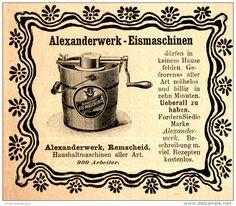Original-Werbung/ Anzeige 1898 - ALEXANDERWERK EISMASCHINEN - REMSCHEID - ca. 90…