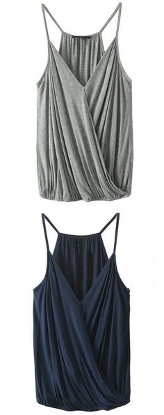 Gray and navy spaghetti strap v-neck ruffle wrap cami: