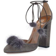 Aquazzura Wild Russian Mink Fur Pump (3 345 PLN) ❤ liked on Polyvore featuring shoes, pumps, heels, sandals, fur, urban grey, ankle strap pumps, self tying shoes, block heel shoes and pom pom pumps