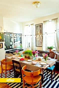 sunny dinner party set-up // via @ApartmentTherapy : A Spring Vegetarian Dinner for Six