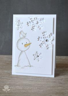 Lostinpaper - Gorjuss Snowman die cut snow flake Christmas card