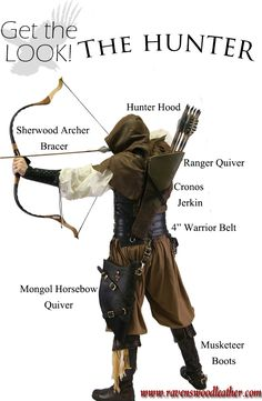 Druid, hunter, Medieval woodsperson look. Fantasy Armor, Medieval Fantasy, Medieval Archer, Medieval Gown, Larp, Costume Sports, Character Inspiration, Character Design, Rangers Apprentice