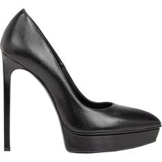 Saint Laurent Janis Platform Pumps (£515) ❤ liked on Polyvore featuring shoes, pumps, heels, high heels, black, black platform pumps, pointy-toe pumps, black pumps, black platform shoes and black stilettos