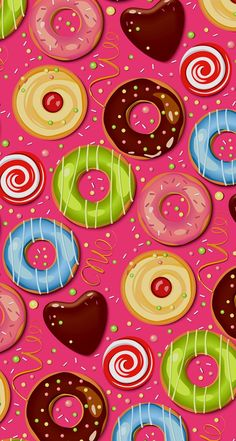 Find images and videos about sweet, wallpaper and donuts on We Heart It - the app to get lost in what you love. Cupcakes Wallpaper, Food Wallpaper, Kawaii Wallpaper, Screen Wallpaper, Wallpaper Backgrounds, Scrapbook Paper, Scrapbooking, Tsumtsum, Cellphone Wallpaper
