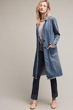 Pilcro Denim Duster Coat, Blue - anthropologie.com