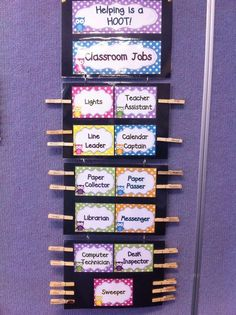 Classroom jobs clip chart made using Donna Coleman's polkadot owl pack from TpT :):