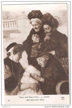 """Carte Postale Ancienne """"LES VIEILLES FÉES"""" L. JONAS Salon de Paris France."""