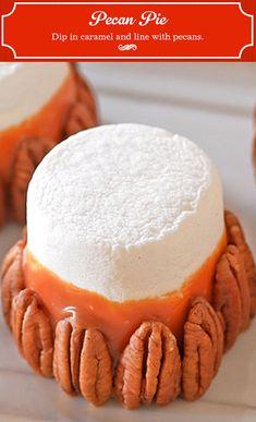 Pecan Pie Marshmallows- yum, toast those bitches! Pie Dessert, Eat Dessert First, Dessert Recipes, Candy Recipes, Fall Recipes, Sweet Recipes, Holiday Recipes, Just Desserts, Delicious Desserts