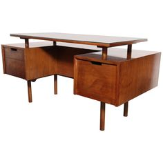 early Milo Baughman Floating Walnut Desk | From a unique collection of antique and modern desks and writing tables at https://www.1stdibs.com/furniture/tables/desks-writing-tables/