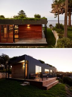 This prefab home has a living roof that minimizes rainwater runoff and solar penetration. The green roof also acts as a thermal mass, and an east-west orientation that allows cross-ventilation. Pavilion Architecture, Sustainable Architecture, Residential Architecture, Sustainable Design, Contemporary Architecture, Landscape Architecture, Prefab Homes, Modular Homes, Roof Design