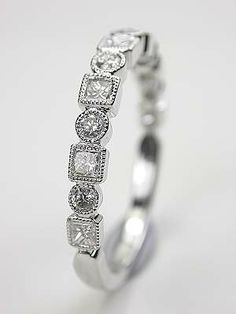Wedding Ring with Round and Princess Cut Diamonds, RG-3323